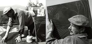 """""""Geräumiges Freiluftatelier"""" – HAP Grieshaber bei der Arbeit    Der Künstler arbeitete häufig auf seiner geräumigen Terrasse oder auf dem Dach seines Hauses. Er genoss die Arbeit im Freien und die Verbindung mit der Natur. Von seinem """"Freiluftatelier"""" bot sich ein weiter Blick ins Tal und auf die gegenüberliegenden Bergketten der Schwäbischen Alb. Für den Fotografen inszenierte er im Sommer 1957 eine Arbeitssituation mit Einzelplatten, die er gerade in Bearbeitung hatte.   S 105/4 Nr. 9285 und 9283  FB1"""