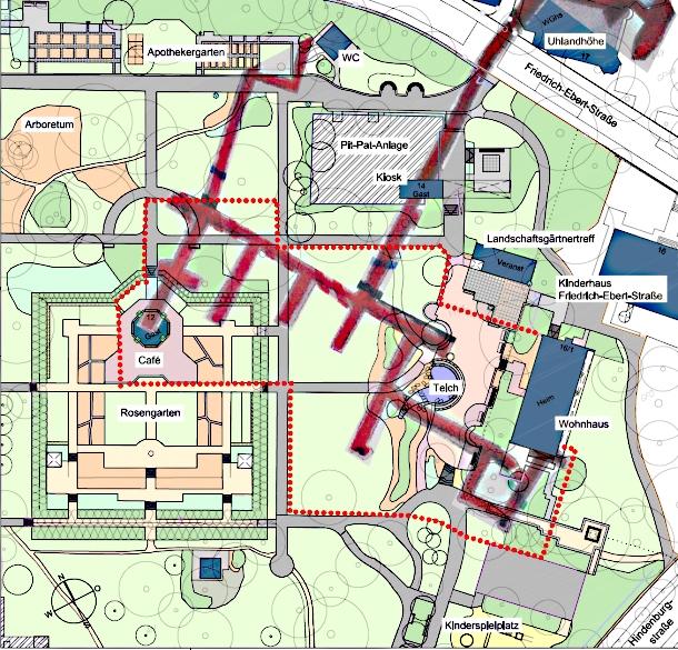 Karte der Pomologie mit dem eingezeichneten Gebiet, das gesperrt wurde (rot gepunktete Linie)