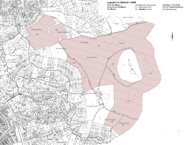 Lageplan der Achalm - die rot gekennzeichneten Flächen wurden am 9. Juni 2009 von der Stadt Reutlingen erworben - Zum Vergrößern bitte anklicken (1,68 MB)